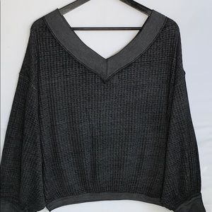 Free People Women's Dark Gray V Neck Sweater